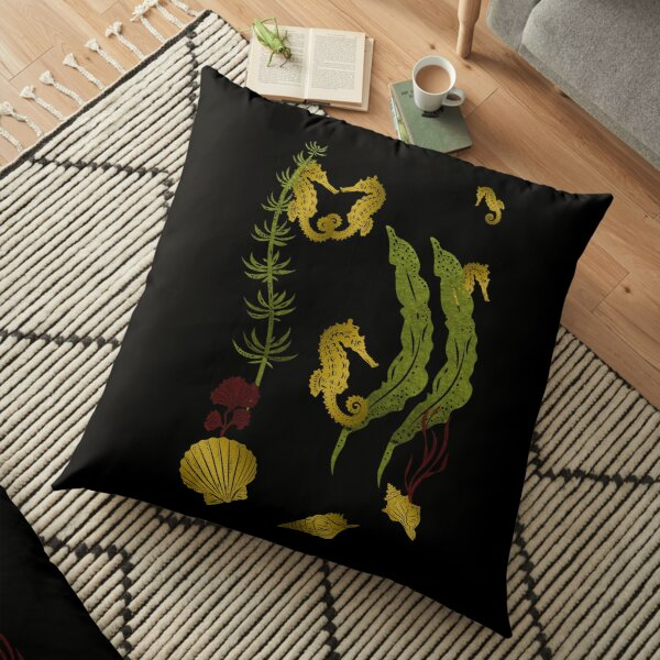 Gold Seahorses Seaweed And Shells Floor Pillow