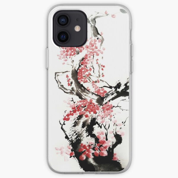 Cherry blossom Japanese Ink Painting  iPhone Soft Case
