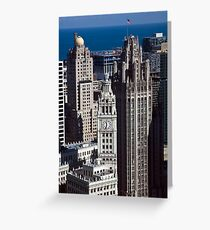 Aerial View - Wrigley Building and Tribune Tower Greeting Card