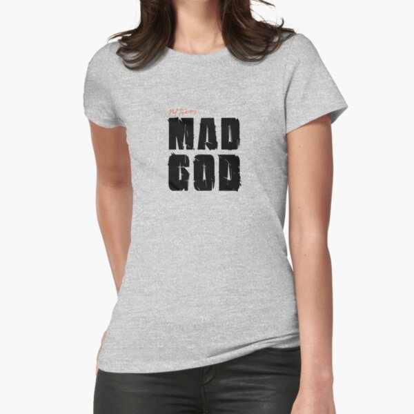 MAD GOD SIGNATURE LOGO IN CLASSIC BLACK Fitted T-Shirt