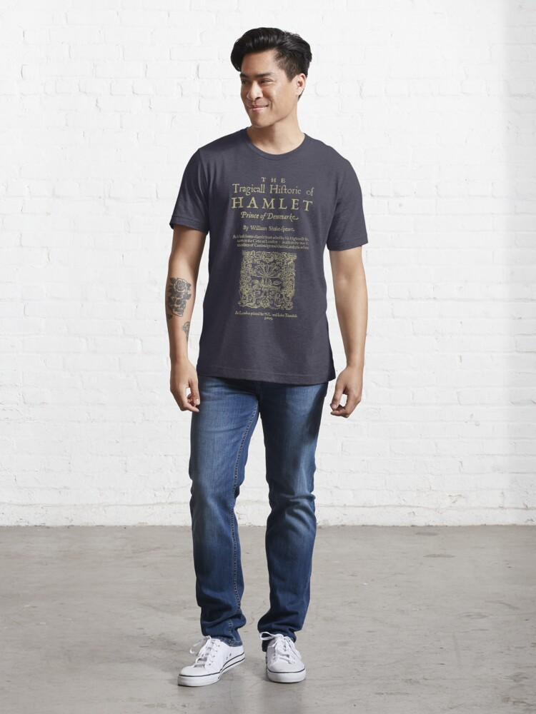 Vista alternativa de Camiseta esencial Shakespeare, Hamlet. Versión de ropa oscura