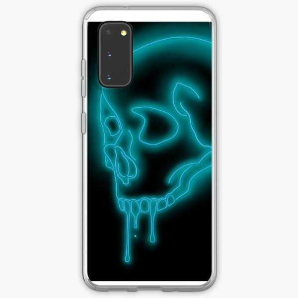 Brightly glowing Neon Skull sign in Teal Samsung Galaxy Soft Case