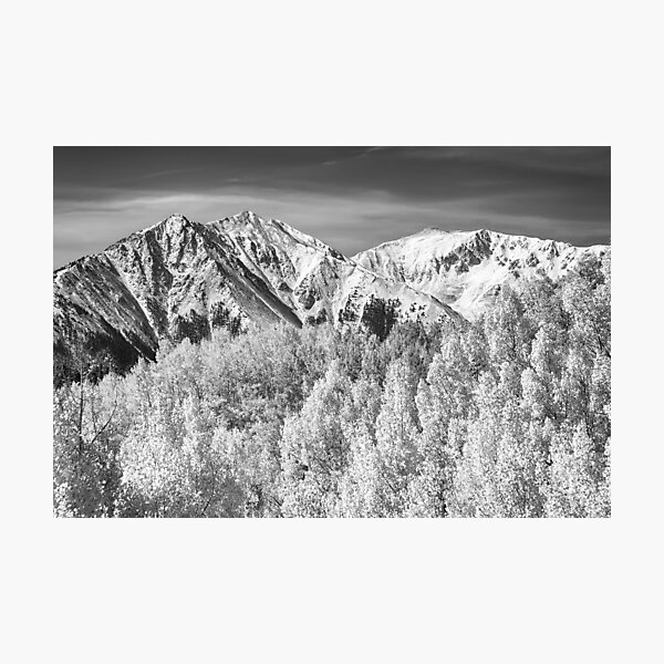 Colorado Rocky Mountain Autumn Magic Black and White Photographic Print