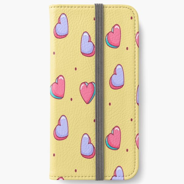 Candy Heart Pink and Yellow Pattern iPhone Wallet