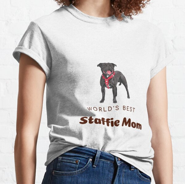 Crazy Staffie Lady Tshirt Present Funny Animal Staffy Lover Owner T-shirt tee