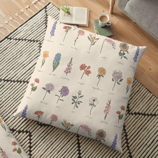 Botanical Flower Pattern Floor Pillow