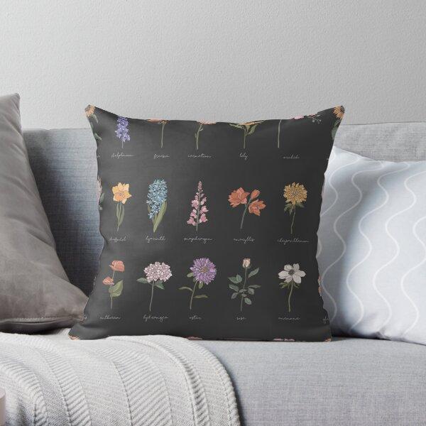 Botanical Flower Pattern Black Background Throw Pillow
