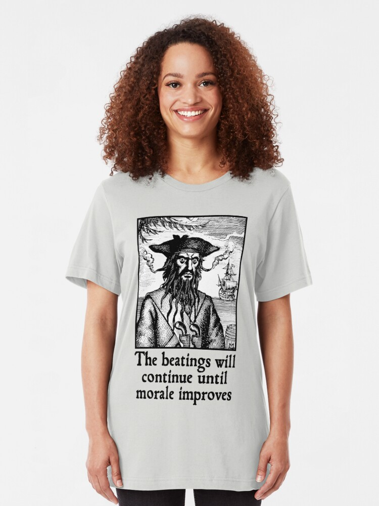 Alternate view of The Beatings Will Continue until Morale Improves Slim Fit T-Shirt