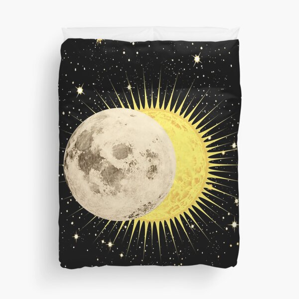 Imminent Eclipse / Sun Moon & Stars Space Astronomy  Duvet Cover