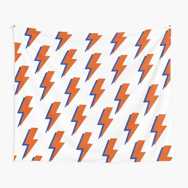 Orange Blue Lightning Bolt Tapestry