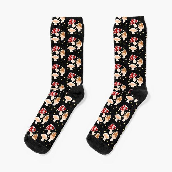 mushrooms and stars Socks
