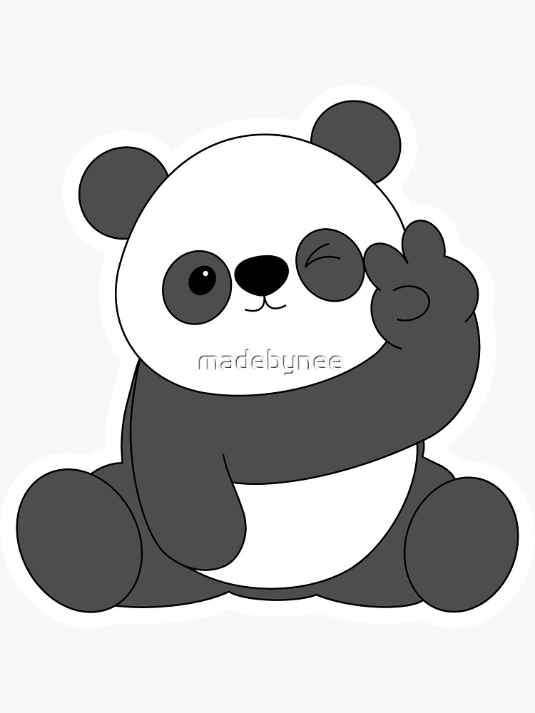 panda doing the peace sign by madebynee
