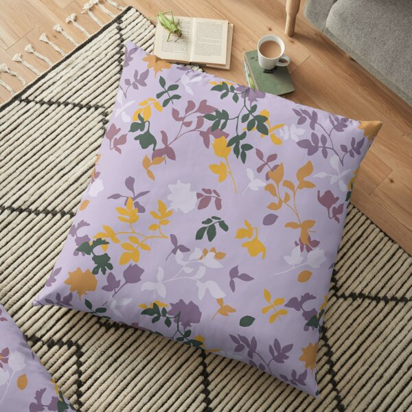 Botanical Flower Pattern On A Lilac Background Floor Pillow