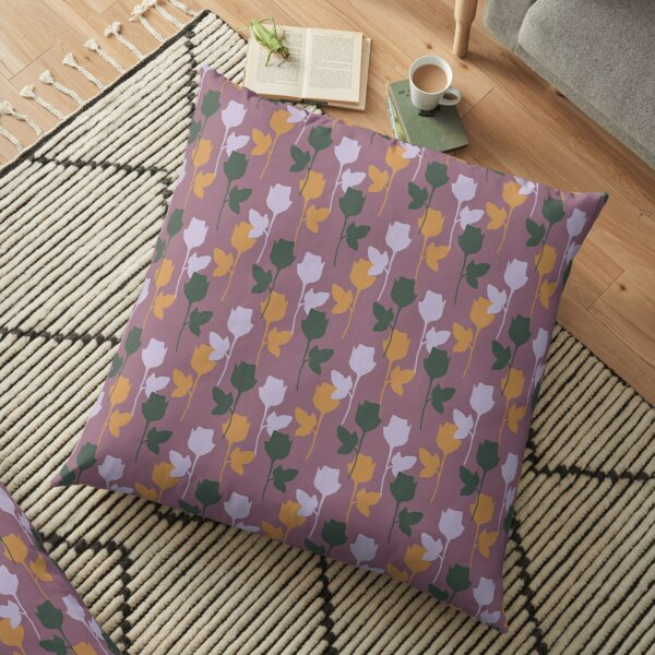 Botanical Flower Pattern On A Rose Red Background Floor Pillow