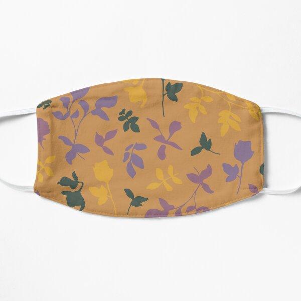 Botanical Flower Pattern On A Burnt Orange Background Flat Mask