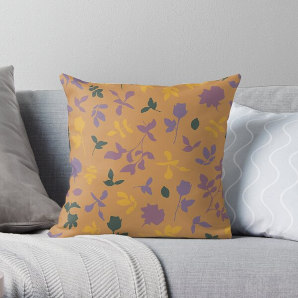 Botanical Flower Pattern On A Burnt Orange Background Throw Pillow