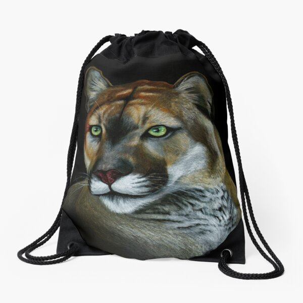 Florida Panther Portrait Drawstring Bag