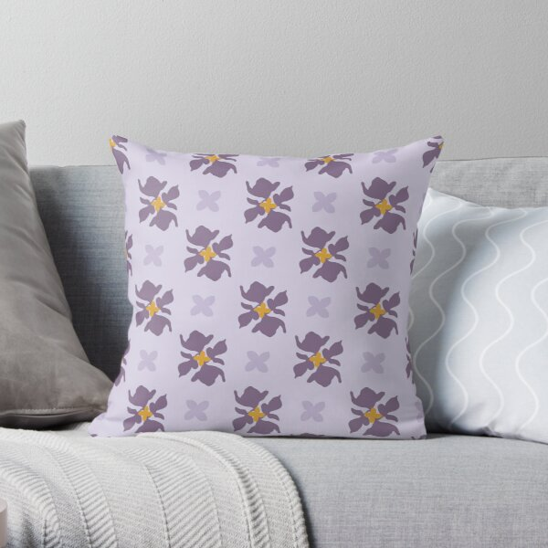 Botanical Flower Pattern On A Lilac Background Throw Pillow