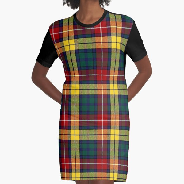 Clan Buchanan Modern Tartan | Red Green Scottish Tartan Graphic T-Shirt Dress