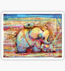 musical rainbow elephants Sticker