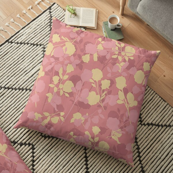 Botanical Flower Pattern On A Red Dahlia Colored Background Floor Pillow