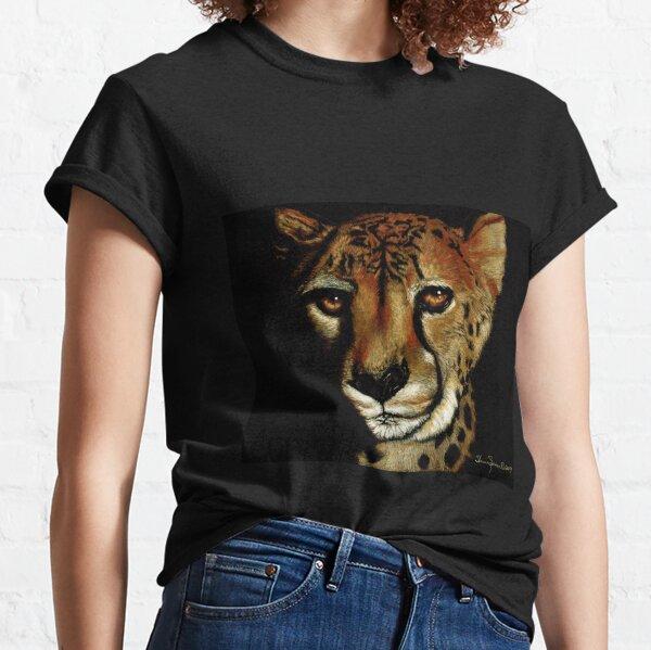 Cheetah Portrait on black paper Classic T-Shirt