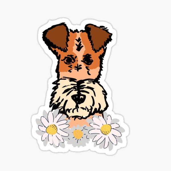Foxterrier with flowers,  Sticker