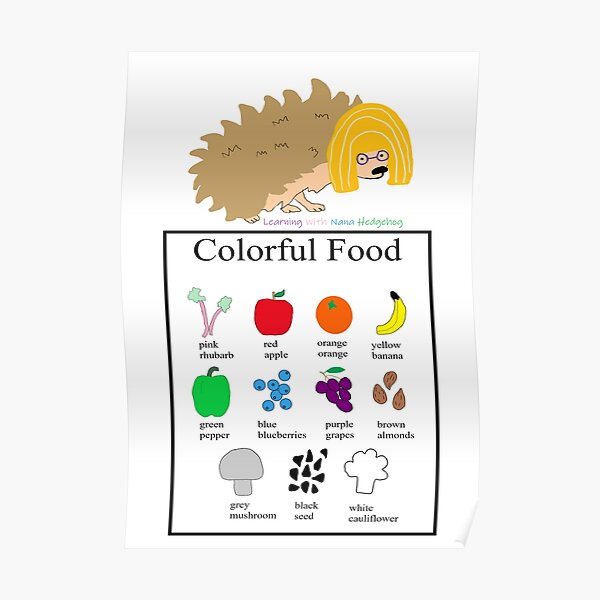 Nana Hedgehog Colorful Food Poster