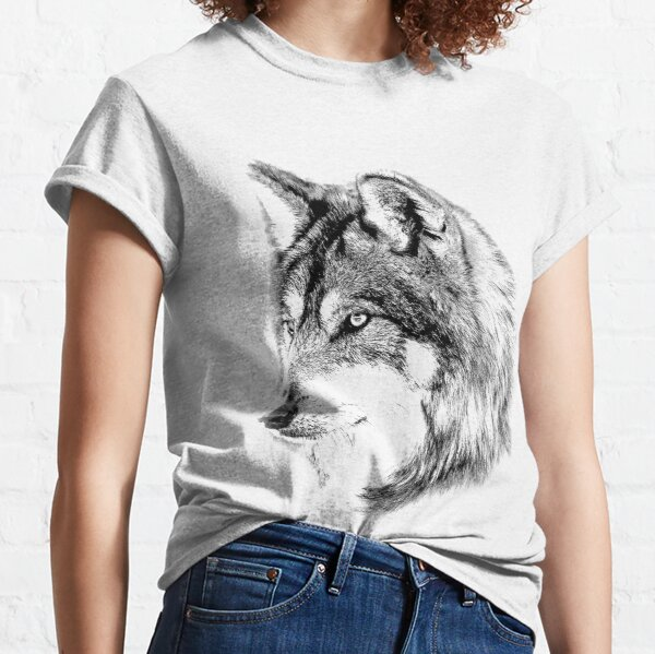 Wolf Face. Majestic Wolf Gazes Into The Distance. Classic T-Shirt