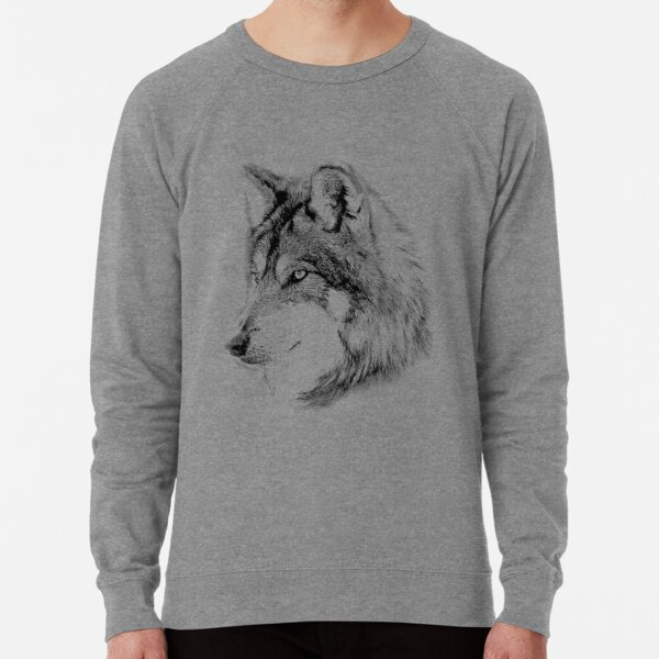 Wolf Face. Majestic Wolf Gazes Into The Distance. Lightweight Sweatshirt