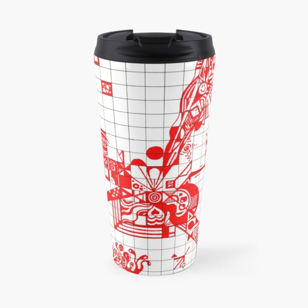 Graphic RED Doodle Travel Mug