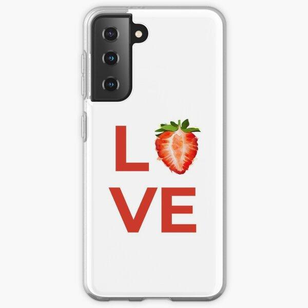 Love Strawberry Fruit Half Samsung Galaxy Soft Case