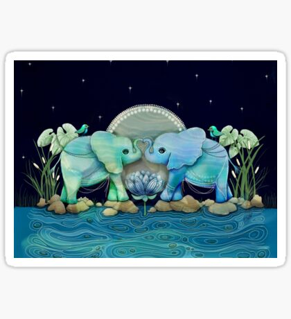 Lotus Flower Elephants Ocean Blue and Sea Green Sticker
