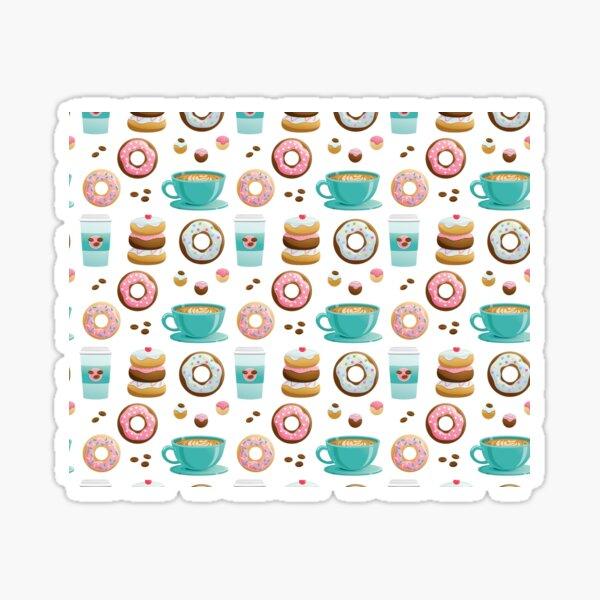Donuts & Coffee Breakfast Pattern Sticker