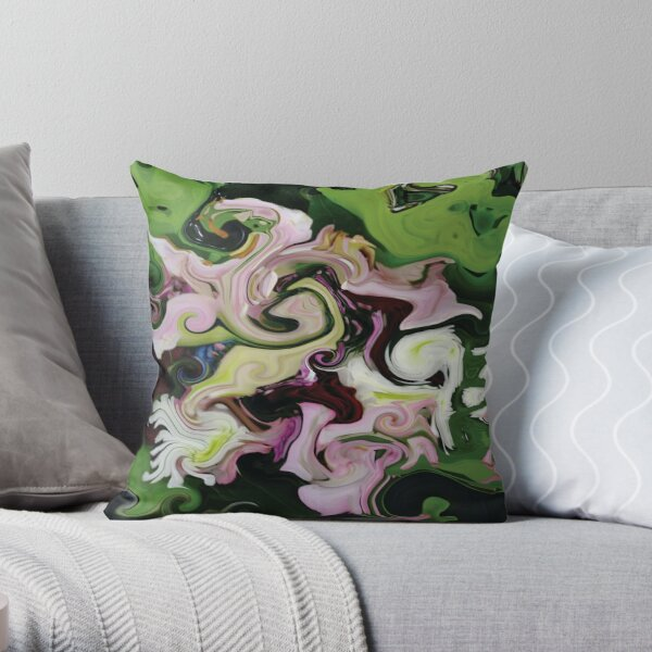CONTEMPORARY FLOWER ART for the bold in Pink and lovely greens and purples Throw Pillow