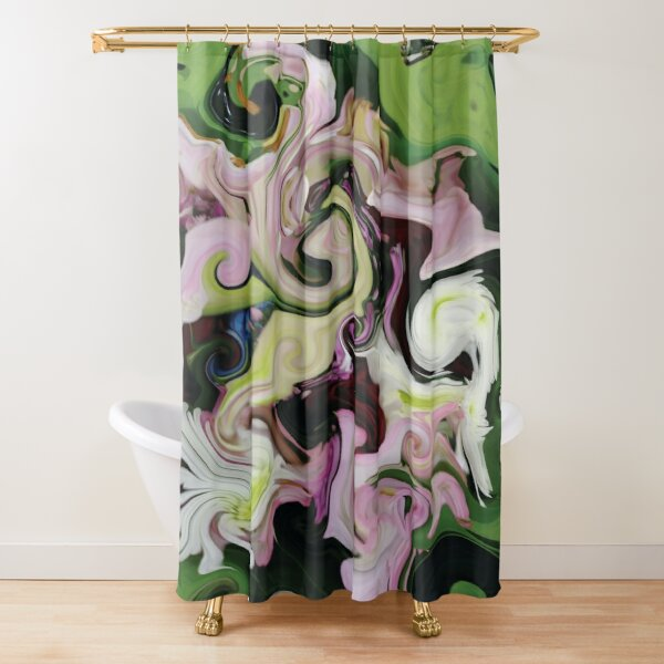 CONTEMPORARY FLOWER ART for the bold in Pink and lovely greens and purples Shower Curtain