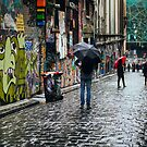 Wet Day in Hosier Lane (Colour) by jamjarphotos