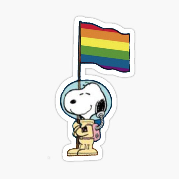 astronaut snoopy lgbt flag Sticker