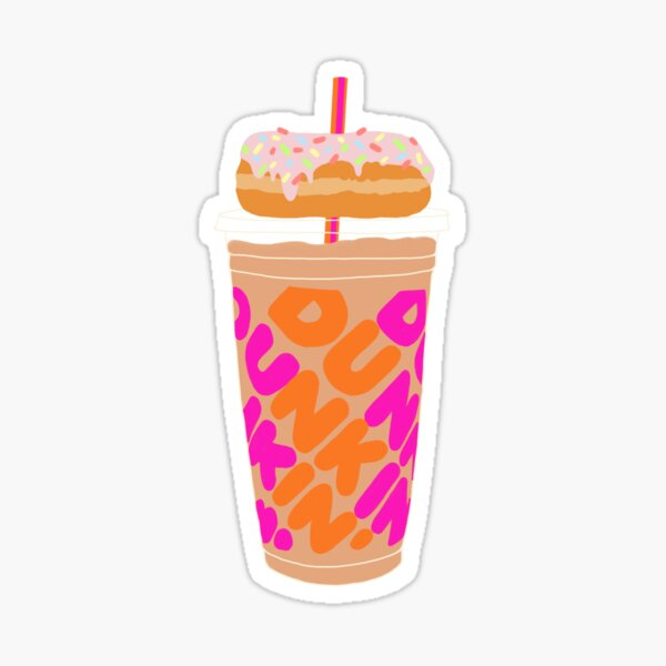 Dunkin Iced Coffee w/ Donut  Sticker