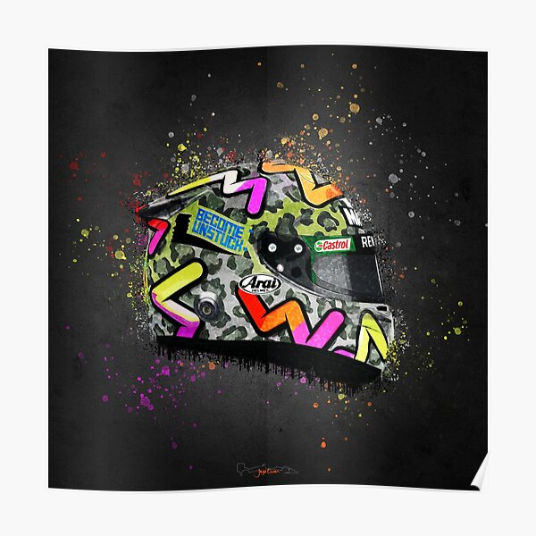 Daniel Ricciardo - Casque Splatter Art 2020 Poster