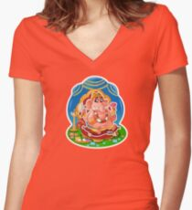 Ganesh - Hindu God - Bunch of Bhagwans Women's Fitted V-Neck T-Shirt