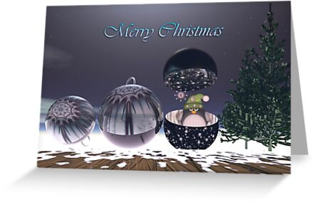 Surrealistic Christmas text card With Baubles and Penguin by walstraasart