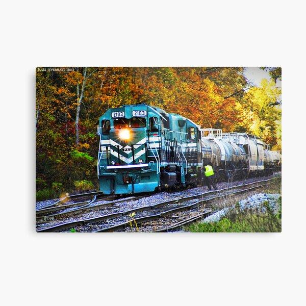 Train in Fall Metal Print
