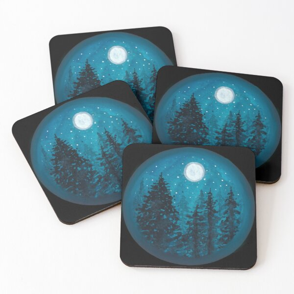 Forest in Moonlight Coasters (Set of 4)