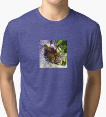Passion Flower and Honey Bees Collecting Pollen Tri-blend T-Shirt
