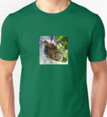 Passion Flower and Honey Bees Collecting Pollen Unisex T-Shirt