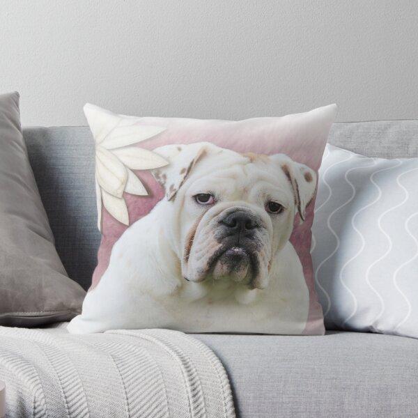 White English Bulldog with Flower Throw Pillow