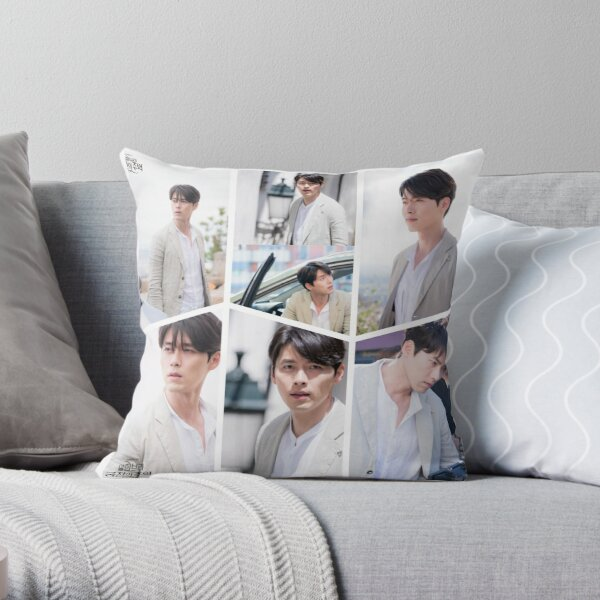 Hyun Bin Handsome Collage  Throw Pillow