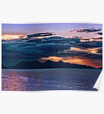 Sunset storm over the Isle of Rum Poster