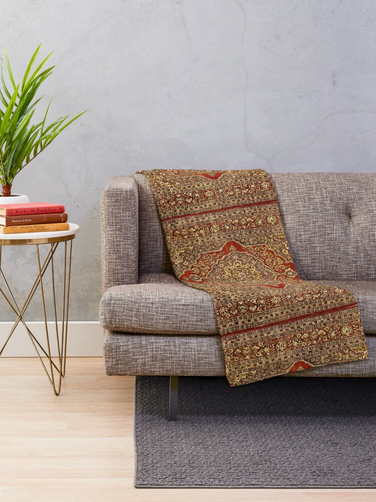 Alternate view of Tabriz carpet design  Throw Blanket